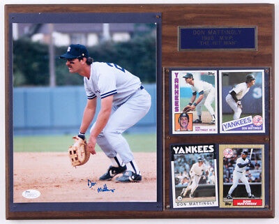 Don Mattingly Signed Yankees 12x15 Plaque (JSA) Includes 1984 Topps rookie Card