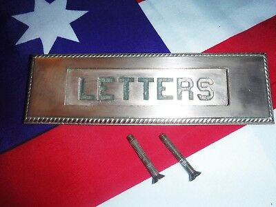 Antique Brass Door Harware, Letter Opening With Raised Letters