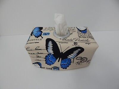 Blue Butterflies on Linen Tissue Box Cover With Circle Opening - Great Gift Idea
