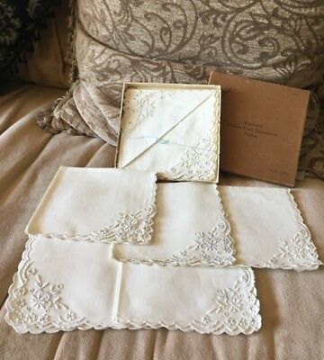 Vintage Madeira Hand Embroidered Linen Napkin Set 1/2 Doz Unused In Box Castrony