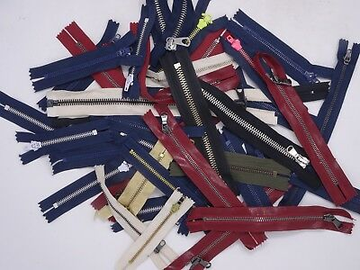 Mixed Lot of 43 Separating and Closed End Zippers in Various Colors Lampo Link