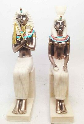 "Egyptian King Tut and Queen Nefertiti Pharaoh Egypt Decor Figurine Statue 9""H"