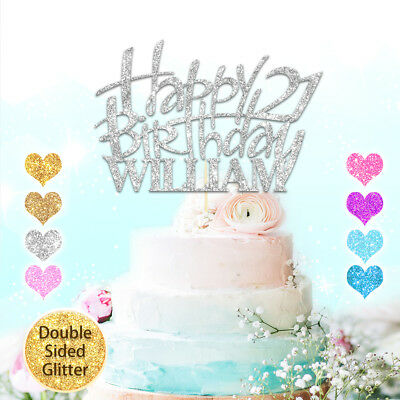 Personalised Cake Topper Happy Birthday Custom Glitter Deco Any Name Word Age