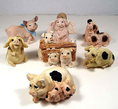 7 Piece Lot Vintage Pig Figurines Stone Critters United Design USA Cannon Falls