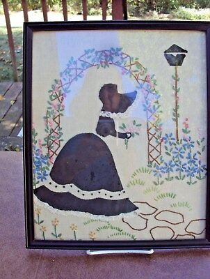 Vintage Cut Fabric and Embroidered Picture - Framed