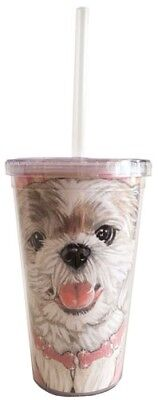 Shih Tzu Tumbler with Straw, Double Wall, 16 Ounces Acrylic Tumbler, BPA-Free