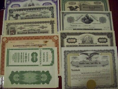 Lot Of 10 Different Old Stock Certificates
