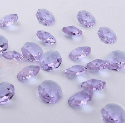 100pcs 14mm purple Crystal Octagonal beads Decoration Crystal chandelier parts