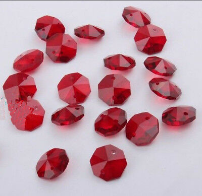 100pcs 14mm red Crystal Octagonal beads Decoration Crystal chandelier parts #001