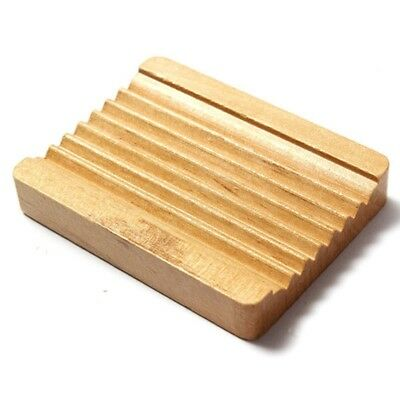 Natural Wood Wooden Soap Dish Storage Tray Holder Bath Shower Plate Bathroo V9E3