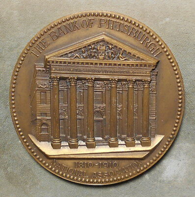"The Bank Of PIttsburgh PA 100th Anniversary 1810-1910 Beautiful Detail 3"" Bronze"