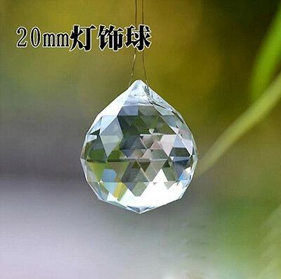 10pcs 20mm Crystal Lamp Ball Prism Chandelier Wedding Decor Teardrop Pendant #02