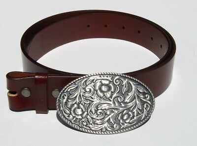 Oval Cowboy Flower Removable Belt Buckle & Solid Classic Brown Leather Belt