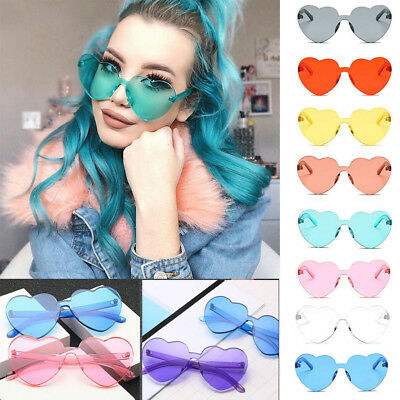 Womens Heart Shaped Large Cute Candy Oversized Eyewear Fashion Love Sunglasses