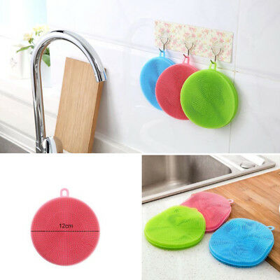 Silicone Dish Washing Sponge Scrubber Cleaning Antibacterial Kitchen Tools AW2Q