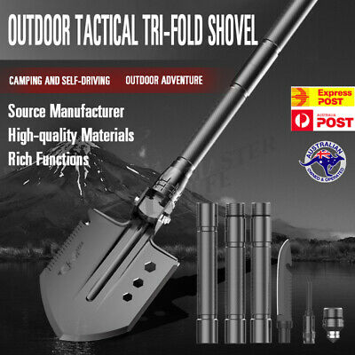 Folding Shovel Camping Survival Multi Tools Knife Axe Saw Outdoor Military AU