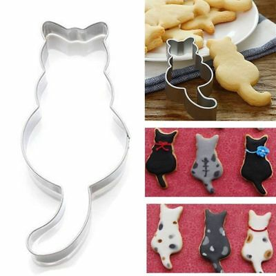 Stainless Steel Cat Shaped Biscuit Cookie Cutter Cake Decor Baking Mold Tool