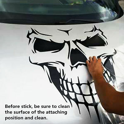Black Skull Hood Decal vinyl large Graphic sticker Car Truck tailgate window 16""
