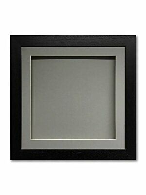 3D square deep memory box picture for medals, objects, memorabilia - grey mount