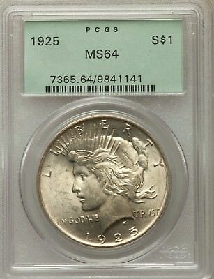1925 Silver Peace Dollar Green Holder PCGS MS64