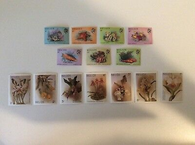 14 Belize Postage Stamps, Muh, 1984 Marine Life, 1987 Orchids