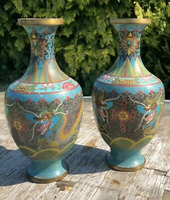 A Pair of Vintage Chinese 5 Clawed Yellow Dragon Cloisonne Enamel Vases *