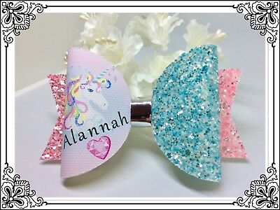 Girls Personalised Unicorn Hair Bow / Glitter Hair Bow / Clip