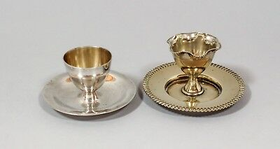 Antique pair 2 silver plate egg cups on stands fluted Victorian shabby chic