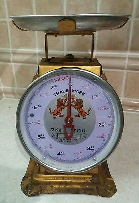 75+ yrs Lilac 1942 Retro Vintage Antique Scale 7kg Post Office/Shop Full working