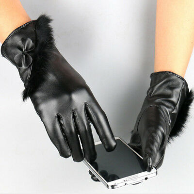 1 PC Women Touch Screen Black Leather Gloves Winter Autumn Warm Mittens Sale