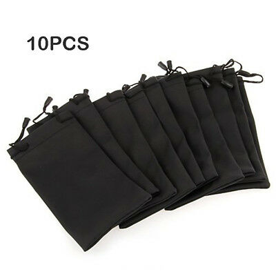 10X Soft Microfiber Pouch Bag For Sunglasses Eyeglasses Glasses W/Lanyard Cloth