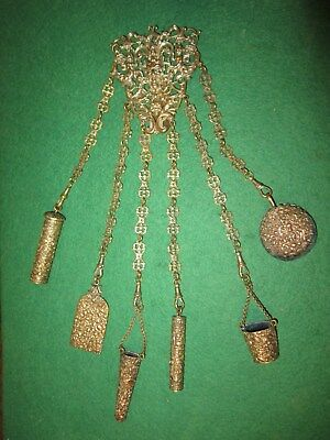 Superb 6 chain c1890  sewing antique  CHATELAINE