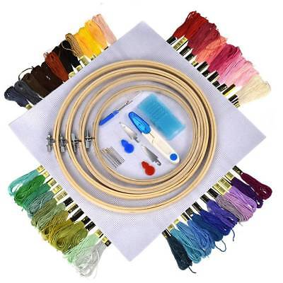 56PCS DIY Hand Knitting Count Cross Stitch Set Embroidery Thread Bamboo Ring