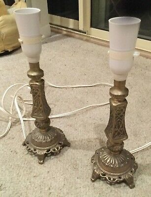 Pair of Vintage Brass Bedside Table Lamps