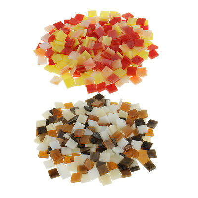 500x Square Shape Glass Mosaic Tiles Pieces for Art Kids DIY Crafts 10x10mm