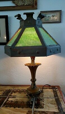 Antique Authentic Arts and Crafts Mission SLAG GLASS Table LAMP