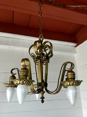 1920's CAST IRON  ANTIQUE VINTAGE ART DECO Ceiling Light Fixture CHANDELIER