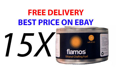 15 x Flamos Methanol Chafing Fuel Catering 2.5 hours BBQ Buffet Gel Camping