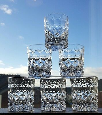 6 Brierley Whisky Glasses 8 oz Perfect Condition