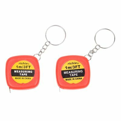 2 Pcs Multifunction Red Case 1 Meter 3 Feet Mini Tape Measure w Key Ring R6J4