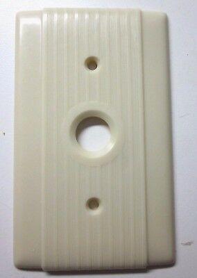 Vintage Hubbell Ribbed Lines Beige Bakelite Single Push Switch Plate Cover Deco