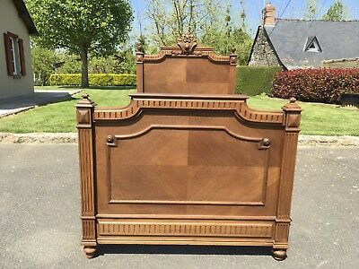 Antique French Louis XV Style Single Bed Frame Carved Walnut
