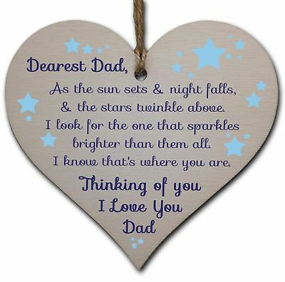 Handmade Wooden Hanging Heart Plaque Gift to remember Dad Loving Thoughtful Fath