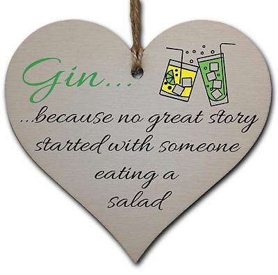 Handmade Wooden Hanging Heart Plaque Gift Perfect for Gin Lovers Novelty Funny K
