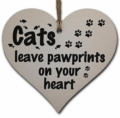 Handmade Wooden Hanging Heart Plaque Gift Perfect for Cat Lovers