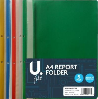 A4 Plastic Project Report Files Folders 2 Prong - 5 Assorted Colours