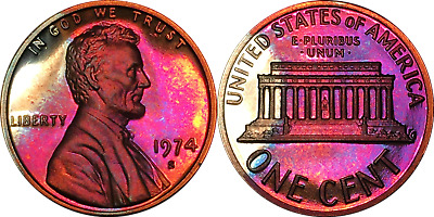 1974-S Lincoln Memorial Cent 1C PCGS PR67RD CAM - Colorful Rainbow Toning