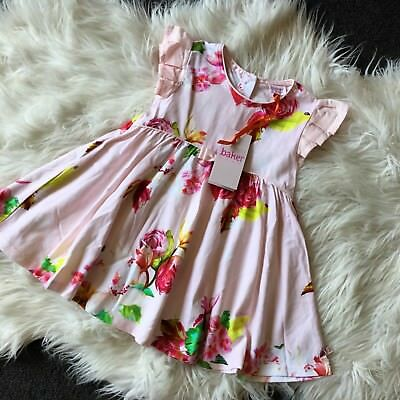 New Ted Baker Baby Girls Pink Floral Print Dress 12-18 Mths - RRP £24