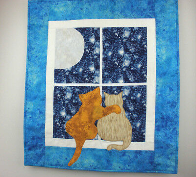 "Cats By Moonlight Handmade Fusible Applique Wall Hanging  25"" x 22"" Art Quilt"