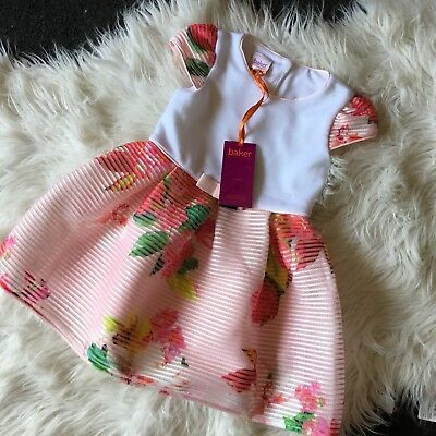 New Ted Baker Baby Girls Pink Floral Print Dress 18-24 Mths - RRP £32